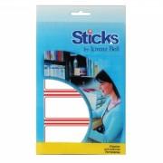 Etiquetas Multiusos Sticks, Moldura Vermelha 34x75mm - 8 Folhas A6